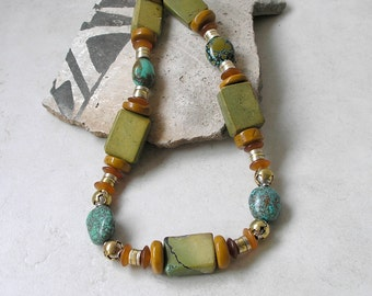 Geometric Southwest Turquoise Beaded Necklace Healing Gemstone Ethnic Tribal Earth Tones Mixed Metals Beadwork For Women
