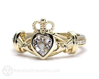 Irish Claddagh Ring White Sapphire Engagement Ring Promise Ring 14K or 18K White Yellow or Rose Gold