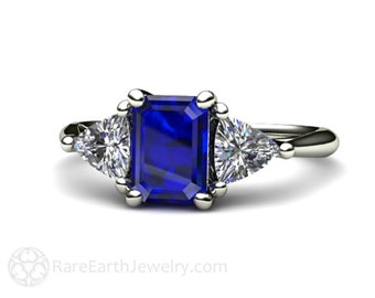 Blue Sapphire Engagement Ring Vintage Blue Sapphire Ring White Sapphire Trillions 3 Stone Three Stone 14K or 18K Gold