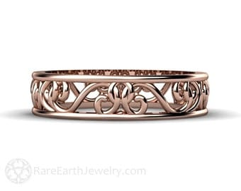 Filigree Wedding Band Stacking Ring 5mm Wedding Ring 14K or 18K Rose Gold Yellow Gold or White Gold
