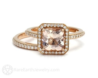 Cushion Halo Morganite Ring Morganite Bridal Set Engagement Ring & Wedding Band 14K or 18K Gold Peach Stone Ring