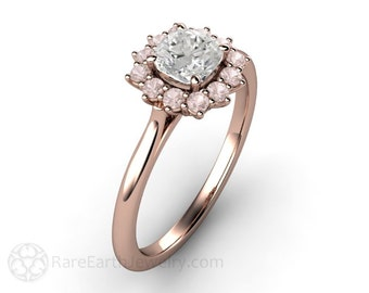 Pink Diamond Engagement Ring Pink Diamond Ring Cushion Halo Cluster 14K or 18K Gold Pink Stone Ring