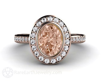 Morganite Engagement Ring Morganite Ring Oval Bezel Diamond Halo Wedding Ring 14K White Yellow or Rose Gold Palladium Bridal Set