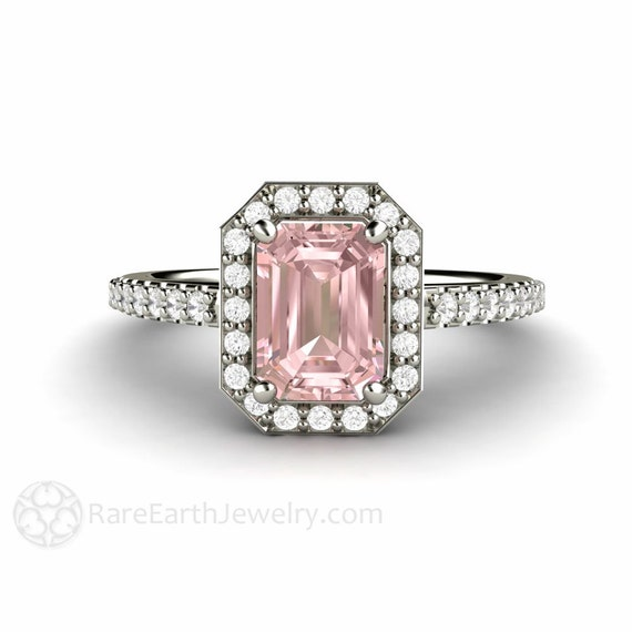pink moissanite ring moissanite engagement ring by rareearth