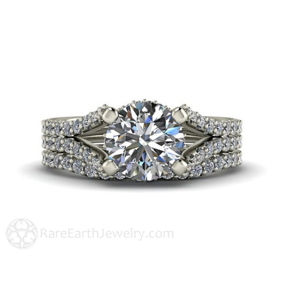 split shank wedding set pave diamond moissanite engagement With split shank wedding ring sets