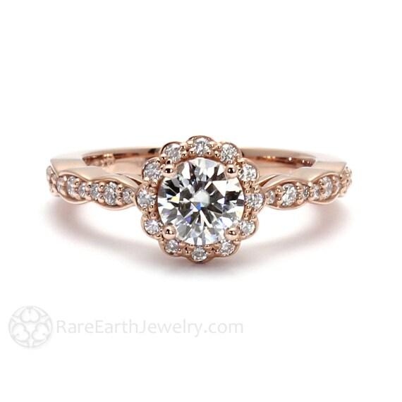 14K Rose Gold Moissanite Engagement Ring Diamond Halo Bridal Jewelry