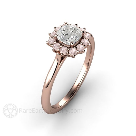 rosa diamant verlobungsring rosa diamant ring kissen halo