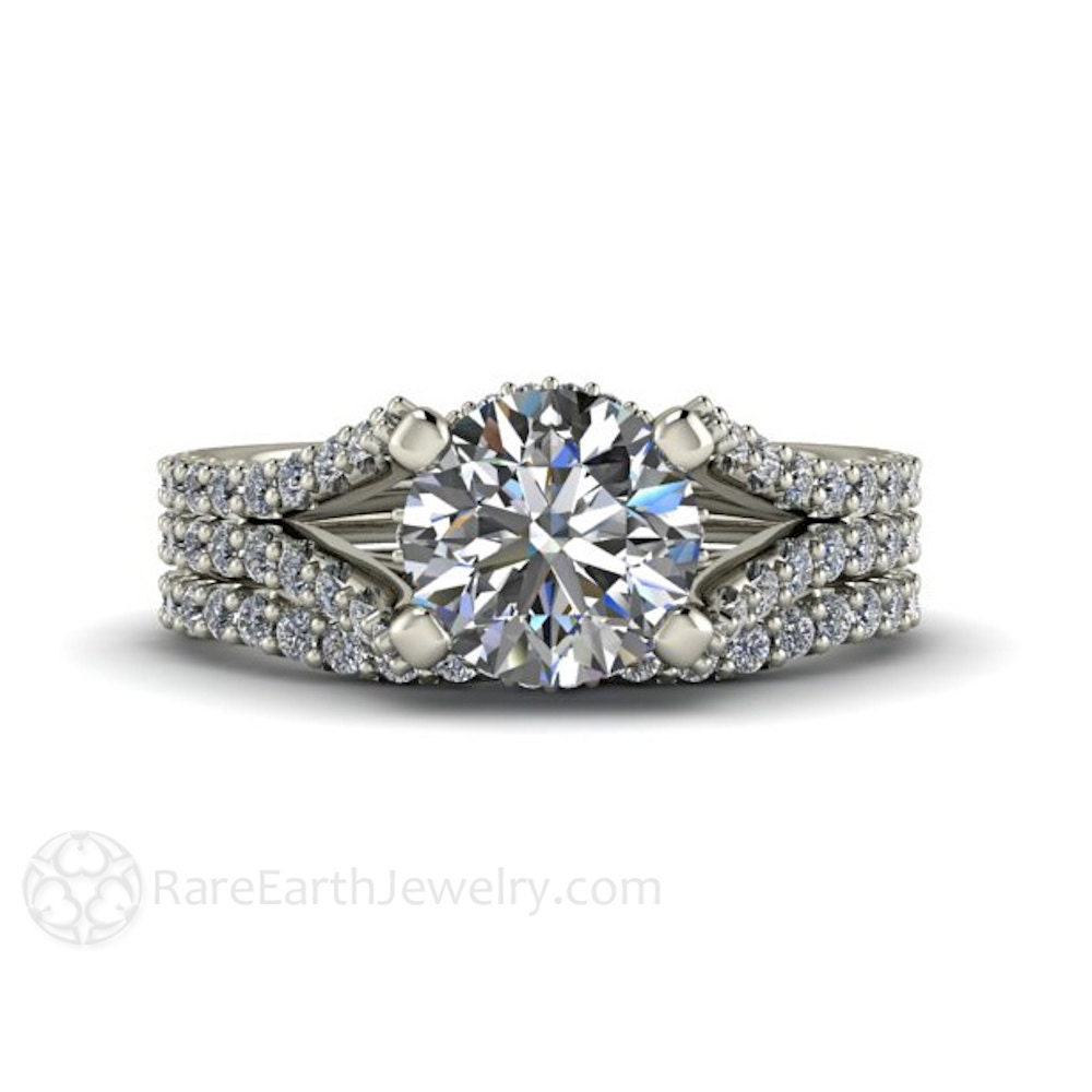 Split Shank Wedding Set Pave Diamond Moissanite Engagement