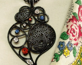 Portugal Folk Black filigree Viana heart necklace rhinestones