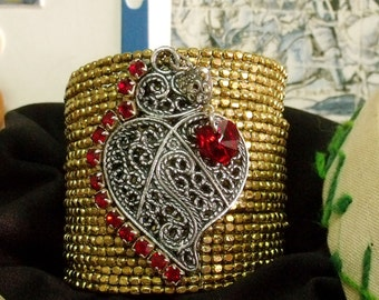 Portugal Viana Heart rhinestones cuff folk filigree jewerly
