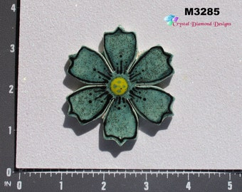 Teal Flower - Kiln Fired Handmade Ceramic Mosaic Tiles M3285