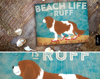 Cavalier King Charles dog beach life illustration graphic art on canvas panel  by stephen fowler Pick A Size