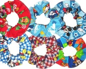 Disney Hair Scrunchie Mickey Mouse Pluto Goofy Donald Duck Patchwork Plaid Blue Fabric Scrunchies by Sherry