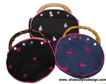 Bermuda Bags Ladies Bamboo Handle OR Wood Handle Entirely Hand Made You Choose the Handle, Which Vintage Lilly Fabric Cover CUSTOM HANDMADE