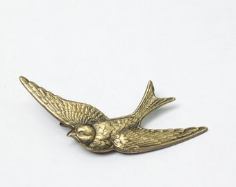 Swallow bird barrette hair clip sparrow retro brass hair accessory