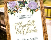PRINTABLE - Blush and Gold Wedding Decor, Purple Wedding, Large Custom Wedding Sign, Vintage Wedding Decor, Summer Wedding, Welcome Sign