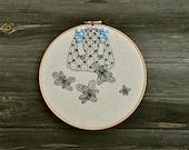 Lady Mint X - original mixed media embroidery hoop art