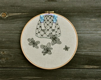 Lady Mint X - original mixed media embroidery hoop art