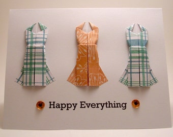 Origami Dress Happy Everything card (blue orange)