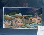 original art color pencil drawing 7x10 cattle drive herding