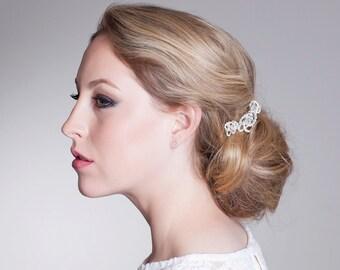 Wedding Hair Comb Triple Love Knot Rhinestone Accessory Bride or Bridesmaid