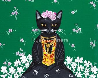 Frida Catlo - Whimsical Cat Folk Art Print 8x10, 11x14