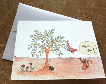 Original watercolor and pen greeting card THANK YOU!