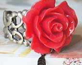 RED ROSE Ring--Resin- Sturdy Bronze Look Brass Adjustable Band--Matching LEAF Charm Dangle