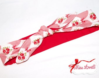 MAE_48 Headband bows/flowers SALMON (2 in 1)