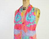 Vintage Liz claiborne  scarf -80s silk long floral scarf