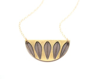 Midcentury Lotus Design Necklace - Brass, Gold Fill or Sterling Silver
