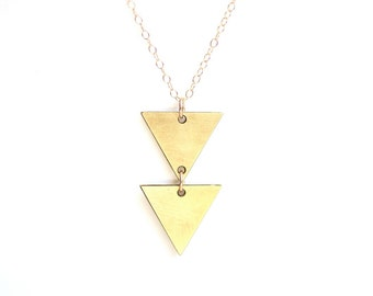Geometric Double Triangle Necklace - Gold or Silver