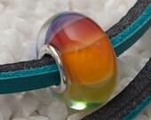 RAINBOW - Big Hole / Slider Bead - Lampwork