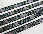 TWO YARDS Embroidered Pink Roses on Black Ribbon .. with Blue Posies, Buttercream Vining Flowers ... 2 yds. Vintage Ribbon Yardage