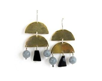 Stone Veil Earrings // obsidian & gray spotted feldspar