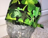 Tie Back Surgical Scrub Hat with Watercolor Shamrocks
