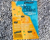 Customized Rock Climbing Party Invitation - Printable Digital File - Foot Holds Version