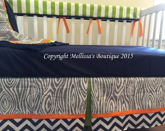 Rustic Arrows & Wood Grain Grey Navy Orange and Lime Baby Nursery Bumperless Crib Bedding Set made with Designer Fabrics MADE To ORDER