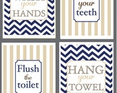 Kids Bathroom Art - Wash Your Hands, Brush Your Teeth, Hang your Towel,  Flush the Toilet - Chevron - Monogram - Set of Four 8x10