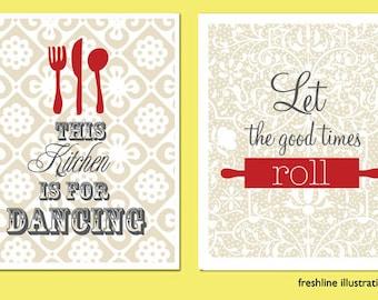 kitchen art work, kitchen wall art, Be Grateful, Spread Love, Set of Two 8x10s, Art Print Set