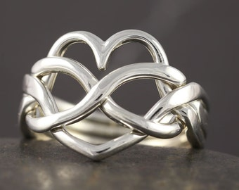 Heart infinity puzzle ring in sterling silver - Handmade to your size
