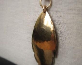 Gold Leaf Pendant Hammered Bronze Grande Leaf Pendant Item No. 6439