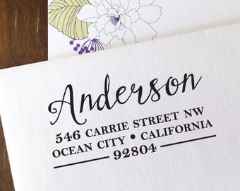 CUSTOM ADDRESS STAMP with proof from usa, Eco Friendly Self-Inking stamp, address stamp, custom stamp, custom address stamp Calligraphy 153