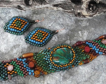 Free Form Peyote Stitch Beaded Bracelet Beaded Earrings - Set  - Bead Weaving - Kingman Turquoise