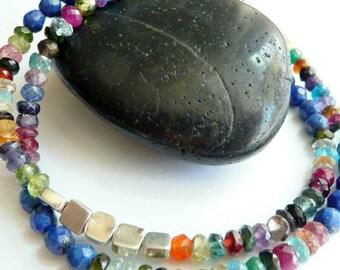 Artisan Handcrafted OOAK Double Strand Lapis Lazuli Multi Colored Semi Precious Stone Sterling Silver Bohemian Hippie Bracelet