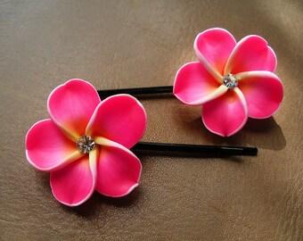 Bobby Pins, Hair Pins, Hair Accessories, Hair Jewelry, Natural Hair, Hair Decor, Hot Pink Hawaiian Plumeria Flower Bobby Pin Set