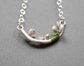 Sterling Silver Statement Necklace with Green Thread - Baoab Tree - One of a kind