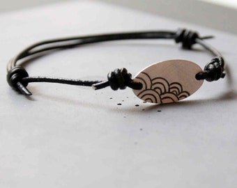 Sterling Silver Adjustable Bracelet for Men and Women with Japanese Wave Pattern and Black Leather Cord