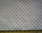 Reproduction shirting fabric, 100% cotton, blue print on ivory background by the yard half width
