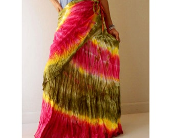 New Tropical Art Gypsy Handmade Orange Yellow Green Tie Dye Cotton Long Ruffle Wrap Casual Skirt S-L (TD 23 )